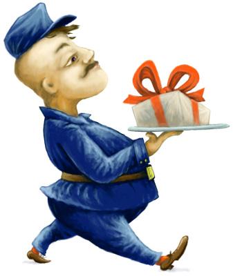 Mensajero llevando un regalo