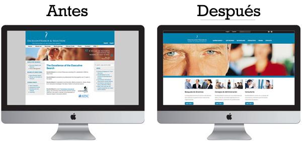 Web de ExcellentSearch antes y después